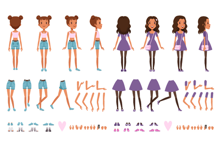 Teenager girl character constructor, creation set. Full length front, back and side view. Body parts legs, hands, gestures. Collection of shoes and sneakers. Isolated flat design vector illustration.