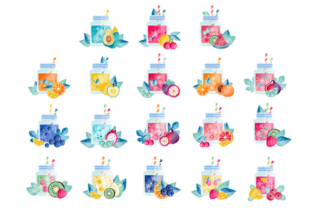 Set of glass jars with sweet drinks of different flavors. Refreshing summer juice with slices of fruits and cubes of ice. Organic and healthy smoothie. Flat vector icons. Design for vegan cafe menu.