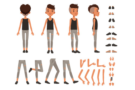 Boy character creation set, student boy constructor with different poses, gestures, shoes vector Illustrations on a white background Illustration