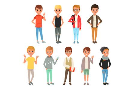 Set van schattige jongens personages gekleed in stijlvolle casual kleding. Kinderen poseren met lachende gezichtsuitdrukkingen. Kinderen dragen. Cartoon afbeelding geïsoleerd op een witte achtergrond. Kleurrijk plat vectorontwerp