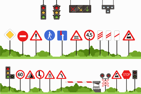Road signs set, various traffic sign vector illustrations