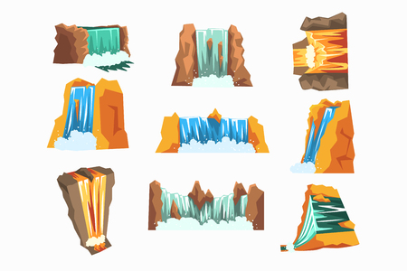 Waterfalls set, cascading streams of various shape cartoon vector Illustrations, design element