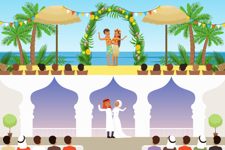 Different wedding ceremonies set, traditional, exotic tropical beach and muslim weddings vector Illustrations, web design Banque d'images - 110273258