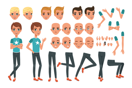 Young man character constructor. Creation set with parts of body legs, arms, hand gestures. Angry, dissatisfied, surprised and calm face expression. Full length boy. Stylish hairstyles. Flat vector. Stock fotó - 107746998
