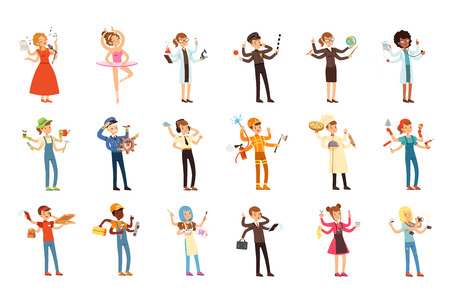 Multitasking people set with many hands. Workers of different professions. Singer, ballerina, scientist, gardener, ship s captain, pilot, pizza delivery boy, plumber, painter Flat vector characters