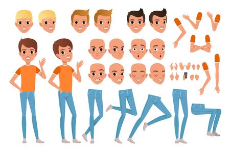 Teenager-Jungen-Charakterkonstrukteur. Set aus verschiedenen männlichen Emotionsgesichtern, Frisuren, Händen, Gesten und Beinen. Kerl in voller Länge Portrait isoliert auf weißem Hintergrund. Flaches Design-Vektor-Illustration.