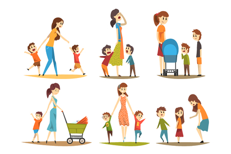 Cartoon character set of young mothers with kids. Pretty woman with newborn in baby carriage, preschool naughty boys. Motherhood and parenting concept. Flat vector illustration isolated on white. Stock Illustratie