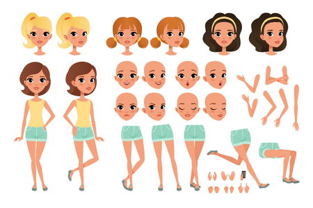 Teenager girl character creation set with various views, poses, face emotions, hands gestures and haircuts. Female character full length portrait. Flat vector illustration isolated on white background Illustration
