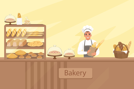 Bakery shop illustration with baker character next to a showcase with pastries. Young man standing behind the counter. Vector store background with design elements set.  イラスト・ベクター素材