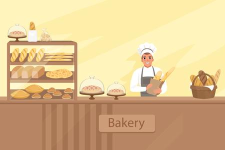 Ilustracja sklepu piekarniczego z postacią piekarza obok gabloty z wypiekami. Młody człowiek stojący za ladą. Sklep tło wektor zestaw elementów projektu.