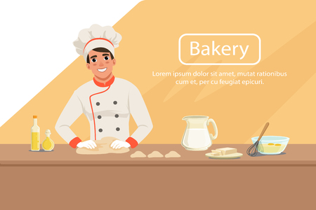 Illustration with man baker character kneading dough on the table with products. Smiling male in uniform, chef s hat and apron at work. Bakery shop background concept with place for text. Flat vector Illusztráció