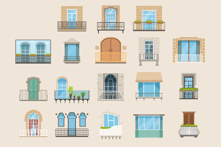 Set of colorful beautiful balconies in different styles. Vintage, modern and decorative forged balconies. Flat cartoon vector illustrations, isolated architecture exterior building design element.
