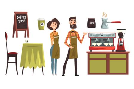 Glücklicher Mann und Frau Barista, die karierte Hemden tragen. Originelles Set mit Designelementen von Coffeeshop-Ausstattungstisch, Stuhl, Tassen und Bechern, Kaffeemaschine, Cezve. Vektorillustrationen isoliert auf weiß