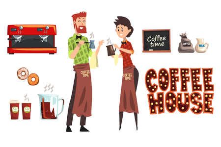 Smiling bearded man with cezve and woman barista with cup. Coffee shop workers wearing plaid shirts and aprons. Set of design elements coffee maker, milk, donuts, cafe sign. Flat vector on white. Illustration