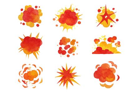 Conjunto de explosiones, vector de acuarela de efecto de explosión de fuego ilustraciones sobre un fondo blanco Ilustración de vector