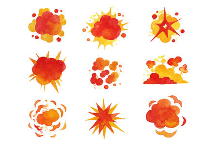 Explosions set, fire explosion effect watercolor vector Illustrations on a white background