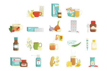 Flu icons set of items alternative and traditional treatments. Hot tea with raspberries, pills, onions, syrup, nose drops, beverage with herbs and honey, throat spray. Colered flat vector illustration