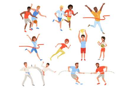 Sports people taking part in different competition. Basketball players, karate fighters, men in tug of war, athletes crosses finish line red ribbon, man and woman with trophies. Set of flat vector.