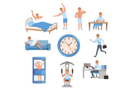 Giovane in diverse situazioni. Tempo di giorno. Svegliarsi, fare esercizi, lavarsi i denti, mangiare, riposare sul divano, correre al lavoro, fare la doccia, allenarsi in palestra, lavorare. Routine quotidiana. vettore piatto Vettoriali
