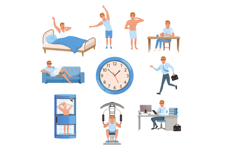 Young man in different situations. Day time. Waking up, doing exercises, brushing teeth, eating, resting on sofa, running on work, taking shower, training at gym, working. Daily routine. Flat vector