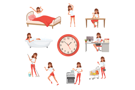 Cute young girl in different situations. Daily routine. Day time. Waking up, doing physical exercises, eating breakfast, taking bath, working, cleaning house, cooking and shopping. Flat vector design. Ilustração