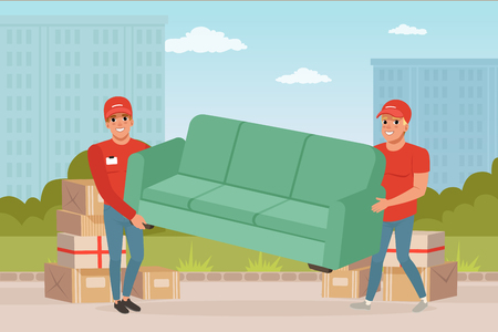 Two strong guys carrying sofa. Cartoon couriers characters. Express delivery. Relocation and moving service. Transportation company. City landscape on background. Colorful flat vector illustration.
