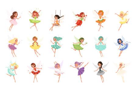 Colorido conjunto de hadas en acción de vuelo. Pequeñas criaturas con cabello y alas de colores. Personajes de cuentos de hadas míticos con lindos vestidos. Ilustración de vector de estilo plano aislado sobre fondo blanco.