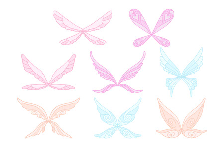 Vector collection of pink, blue and purple fairy s magic wings. Decorative elements for children s book, postcard, print design. Icons in flat style. Colorful illustration isolated on white background Illustration