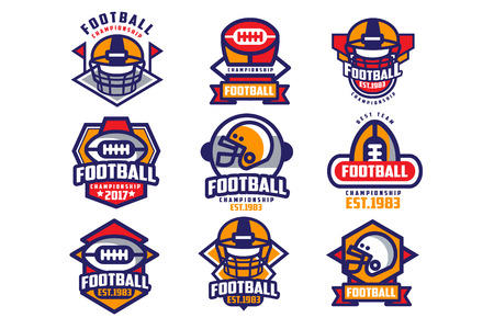 Collection of colorful American football. Labels with oval-shaped rugby balls and protective helmets. Sports emblems. Flat vector design for team badge