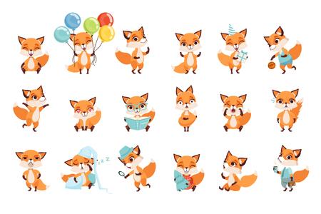 Colección de pequeños zorros lindos que muestran diversas emociones y acciones. Personajes de dibujos animados de animales del bosque. Diseño para aplicación móvil, pegatina, impresión para niños, tarjeta de felicitación. Ilustración de vector plano aislado