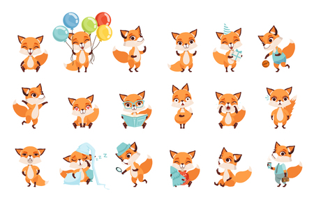 Collection of cute little foxes showing various emotions and actions. Cartoon characters of forest animals. Design for mobile app, sticker, kids print, greeting card. Isolated flat vector illustration Çizim