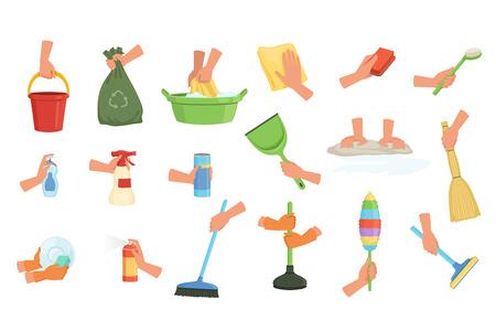 Colorido conjunto de manos humanas con trapo, cepillo para polvo, fregona, escoba, pala y desatascador. Equipo para limpieza de casa o coche. Ilustración de vector de dibujos animados en estilo plano aislado sobre fondo blanco. Ilustración de vector