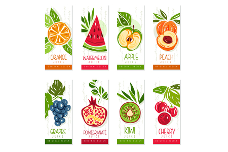 Vertical cards or banners set of fresh fruits watermelon, orange, apple, pear, kiwi, peach, cherry, pomegranate, grapes. Hand drawn design for farm organic food, eco product cover. Vector collection