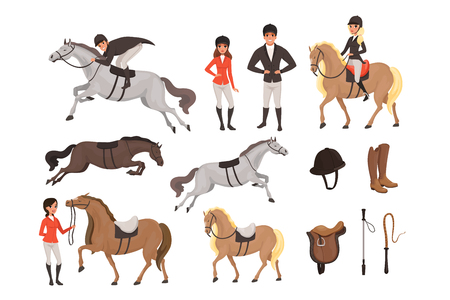 Cartoon jockey icons set with professional equipment for horse riding. Woman and man in special uniform with helmet. Equestrian sport concept. Flat vector illustration isolated on white background. Vectores