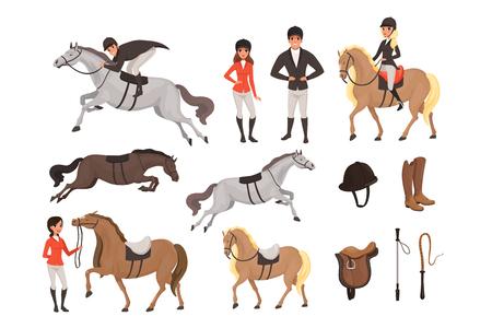 Cartoon jockey pictogrammen instellen met professionele apparatuur voor paardrijden. Vrouw en man in speciaal uniform met helm. Paardensport concept. Platte vectorillustratie geïsoleerd op een witte achtergrond.