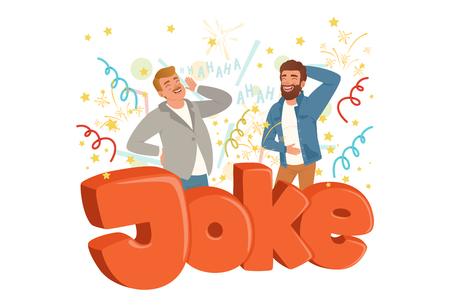 Two adult men loudly laughing after hearing funny joke. Colorful confetti flying in the air. Hahaha text. Cartoon people characters in casual clothes. Flat vector design isolated on white background. Çizim