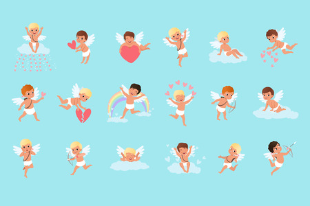 Set of cute cupid boys in different actions. Flying, sitting on clouds, spreading love. Mythical archers. Angels of love with little white wings. Cartoon flat vector design isolated on blue background Illusztráció