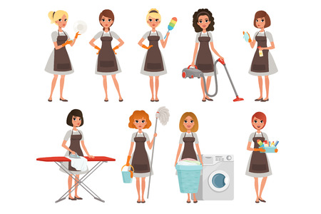 Set of housewives with different equipment. Housekeeper. Cleaning service. Pretty women wearing gray dresses and brown aprons. Cartoon young girls. Flat vector design Ilustracja