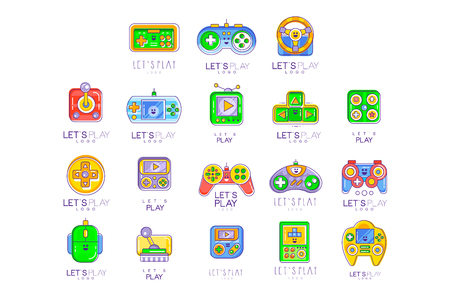 Game gadget collection in line style. Colorful gameplay, joystick, gaming controller. Vector lets play