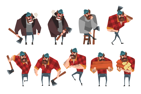 Cartoon set of lumberjack in different actions. Woodcutter with axe. Strong bearded man in hipster plaid shirt, blue jeans, gray sweater, brown jacket, hat. Flat vector illustration isolated on white.