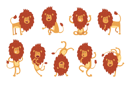 Collection of lion in various poses. Cartoon character of wild African animal. Big strong predator. Zoo theme. Flat vector illustration isolated on white. Design for sticker, kids print or book. Foto de archivo - 110261436