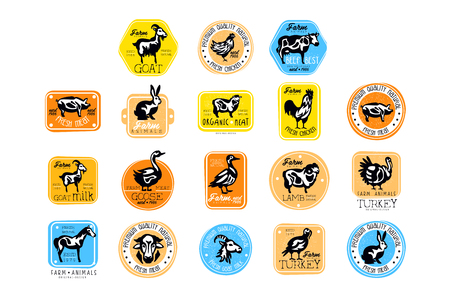 Set of retro labels for dairy and natural meat products. Butcher shop. Vector badges with silhouettes of farm animals. Goat milk, fresh pork, beef, rabbit, chicken, turkey Foto de archivo - 107957003