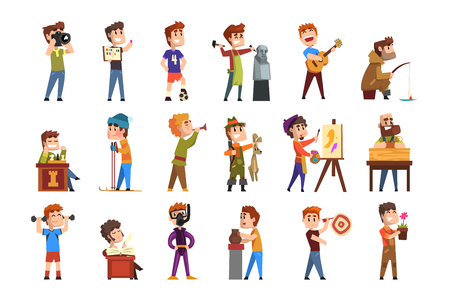 Young teenagers hobby set. Creative and artistic boys pastime. Cartoon kids characters. Collecting stamps, football, chess, photography, sports, diving, playing trumpet, poetry Flat vector on white Archivio Fotografico - 110261437