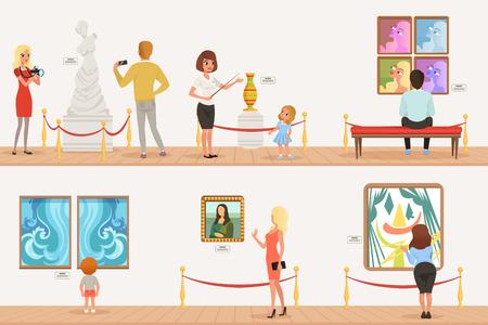 Personaggi dei cartoni animati persone visitatori nel museo d'arte. Quadri, collezione di farfalle e sculture in galleria. Concetto di attività culturali. Bandiere piane verticali di vettore Vettoriali