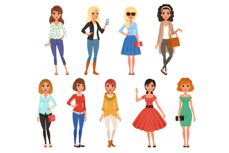 Set of attractive girls dressed in fashionable casual clothes with accessories. Full-length of cartoon female characters. Young women posing with cheerful face expressions. Isolated flat vector design Standard-Bild - 110261445