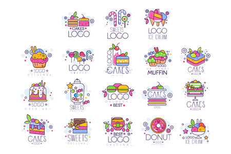Sweets, cakes, ice cream  set, confectionery and bakery products vector Illustrations Illustration