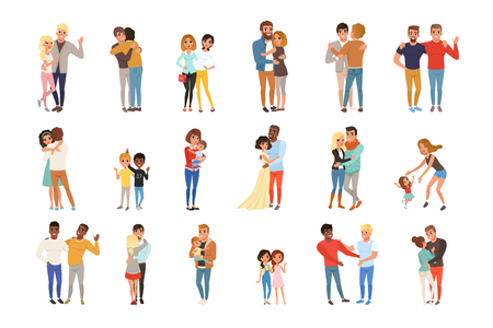 Vector set with hugging people. Friends, girlfriends, brothers, mothers and kids, couples in love. Cartoon characters with happy faces. Graphic illustration in flat style isolated on white background. Illustration
