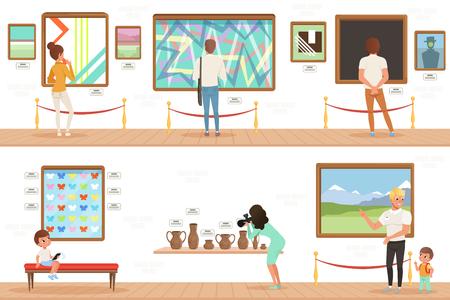 Postaci z kreskówek ludzie odwiedzający muzeum sztuki. W galerii obrazy, kolekcja motyli i rzeźby. Koncepcja działalności kulturalnej. Pionowe banery płaskie wektor