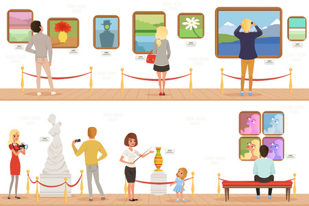 Cartoon characters people visitors in art museum. Paintings, butterflies collection and sculptures in the gallery. Cultural activities concept. Vector vertical flat banners 免版税图像 - 107895793