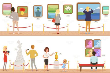 Personaggi dei cartoni animati persone visitatori nel museo d'arte. Dipinti, collezione di farfalle e sculture in galleria. Concetto di attività culturali. Bandiere piane verticali di vettore